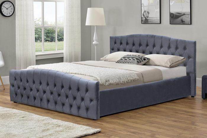 Plush Velvet Ottoman Storage Bed Frame 2