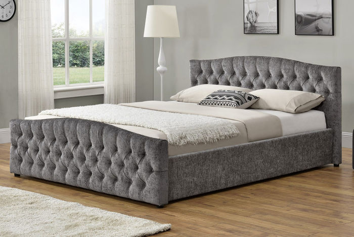 Silver Chesterfield Bed with Ottoman Storage